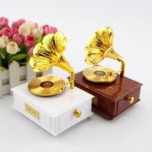 Wedding Home Decor Music Box Classical Retro Gramophone Music Boxes Desktop Jewelry Box Child Present Girl Birthday Gift JJ068