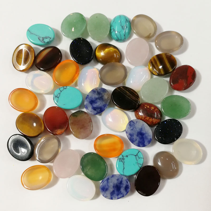 Wholesale Fashion assorted natural stone beads mixed color Oval CAB CABOCHON 8x10mm for jewelry making 50pcs/lot free shipping