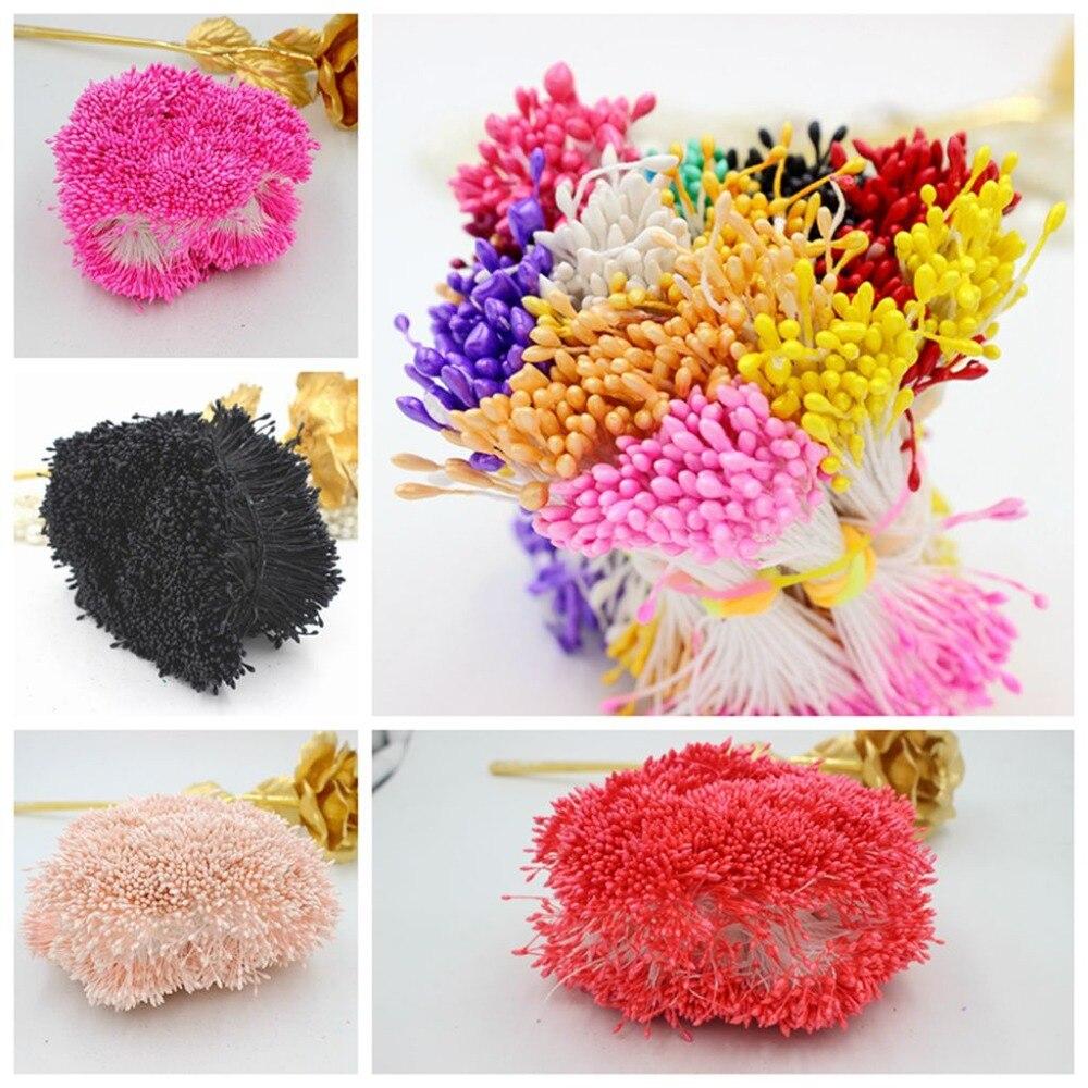 900 шт./лот рандомные смешанные искусственные Двойные головки DIY искусственный мини-жемчуг с тычинками 1 мм цветочные тычинки