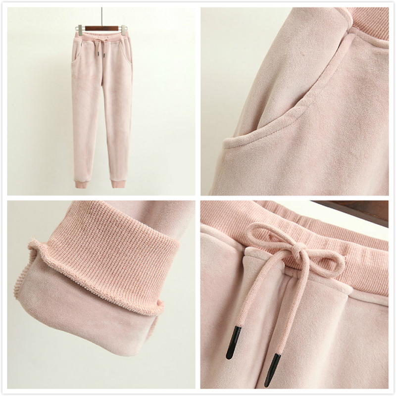 bcddcb1523 Velvet Tracksuit Two Piece Set Women Sexy Hooded Pink Long Sleeve ...