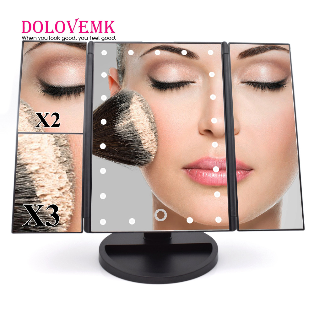 Tri-Fold Adjustable 21 LED Lights Mirror 1X/2X/3X Magnifying Make-up Mirror Bathroom Desktop Mirror for Beauty Makeup
