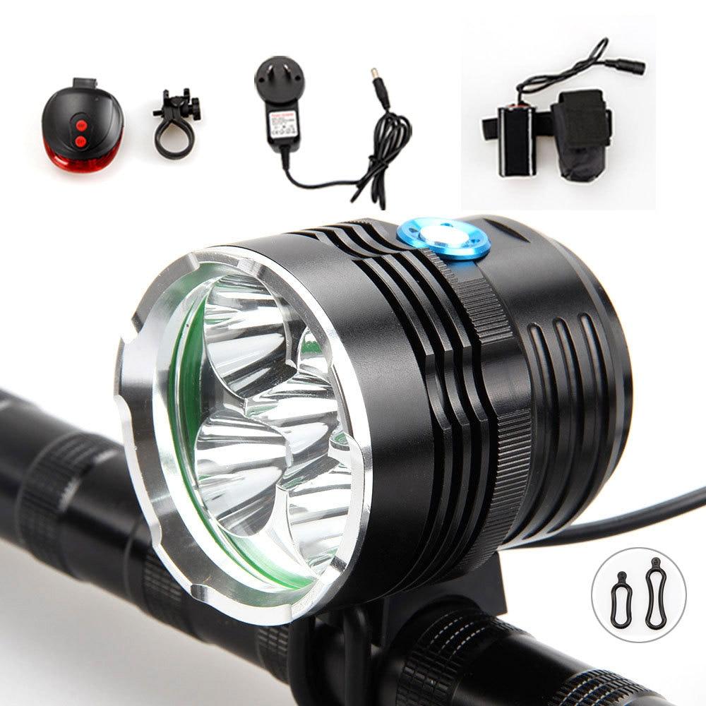 ФОТО Red Laser Rear light 9000Lumen 5x XML T6 LED Bicycle Light  Bike Front light