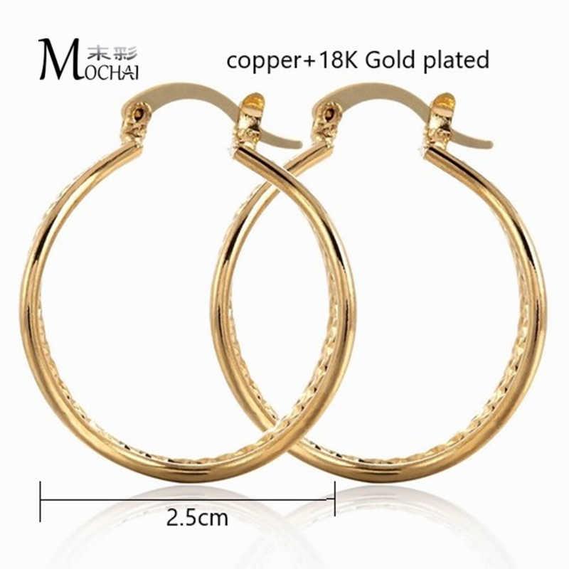 แฟชั่น Elegant Geometric Drop ต่างหูสำหรับผู้หญิง Bijoux Multi Ear วงกลมขนาดใหญ่ต่างหู Charm Brinco 25 มม.ZK40
