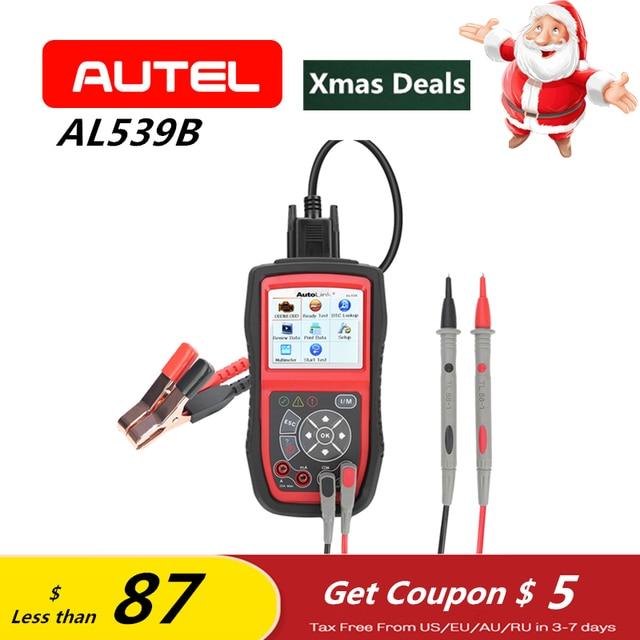 Flash Promo Autel Autolink AL539B OBD2 Scanner Car Diagnostic Tool AVO Meter Battery Test Code Reader Automotive PK AL539 as ELM327 Gift