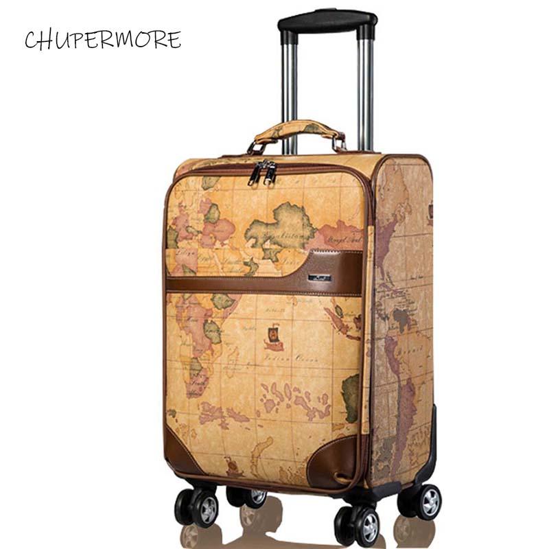 Chupermore Retro mapa PU skórzane Rolling przechowalnia Spinner mężczyźni walizka koła 20 cal kobiety Carry On wózek hasło w Walizka na kółkach od Bagaże i torby na  Grupa 1