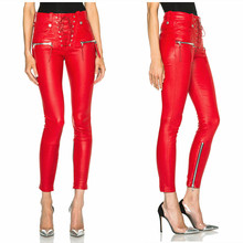 High Quality Women Fashion Punk Unravel Lace Front Pu Leather Skinny Pants Black &red