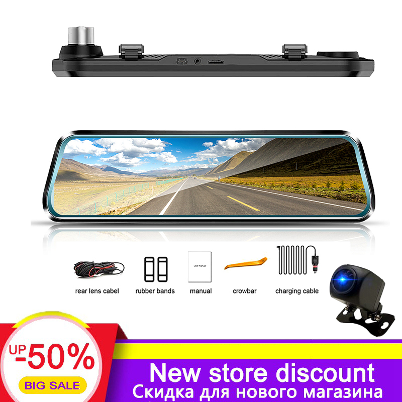 HGDO Car-Recorder Rearview-Mirror-Dvr Dash-Cam Touch-Screen Stream Night-Vision Full-Hd