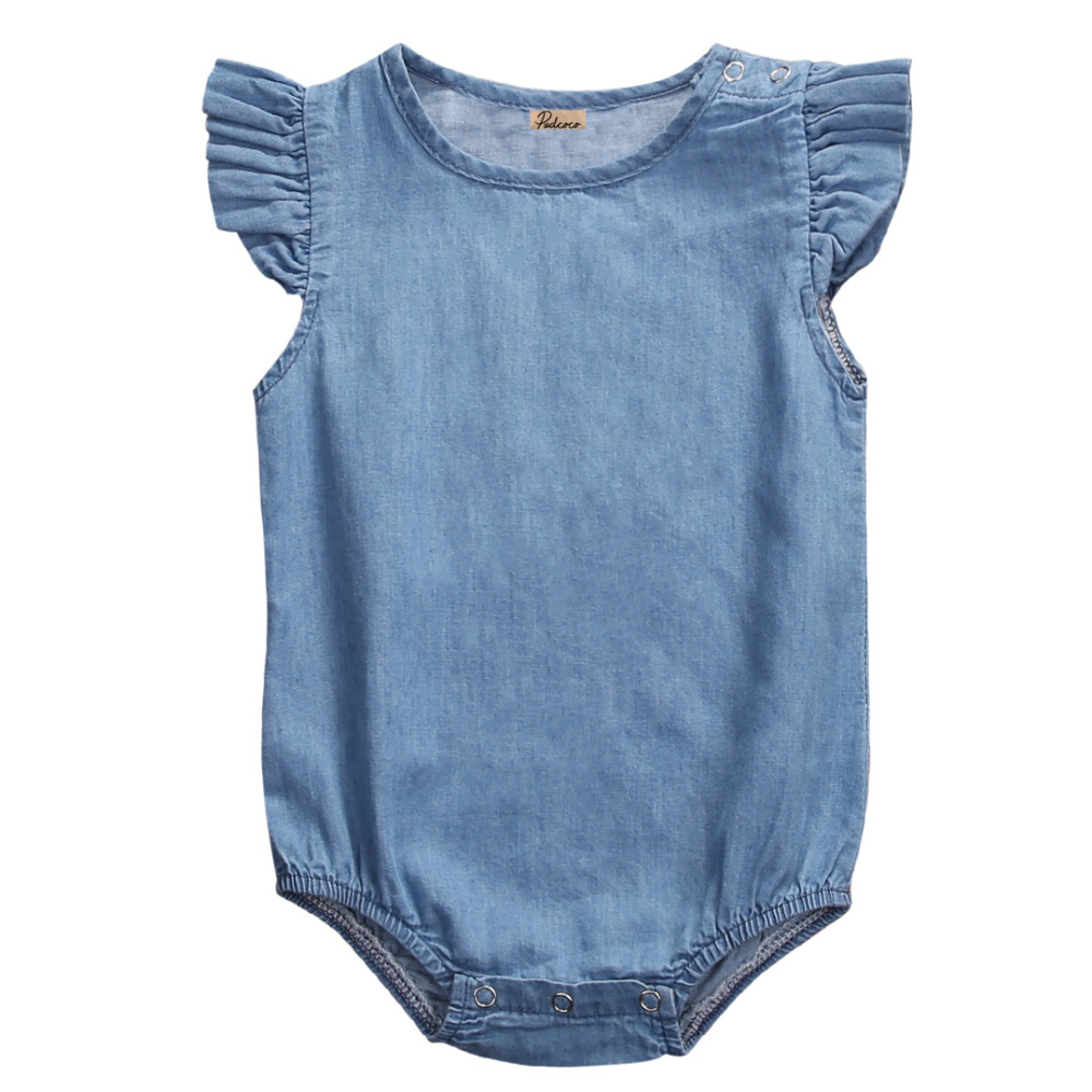 Summer 2017 Newborn Infant Baby Girls Denim   Romper   Lotus sleeve Jumpsuit Clothes Playsuit Outfit