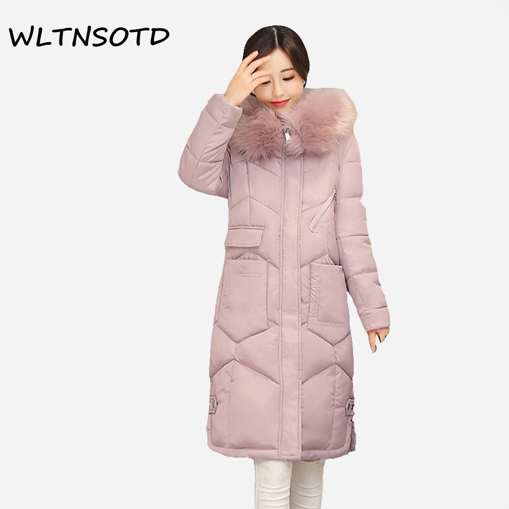 2017 winter new cotton coat women Slim long Hooded thick jacket Female fashion warm Big Fur collar Solid Hem Bifurcation Parkas 2017 new women winter coat long quilted jacket thick warm solid color cotton parkas female slim hooded zipper outwear okb88