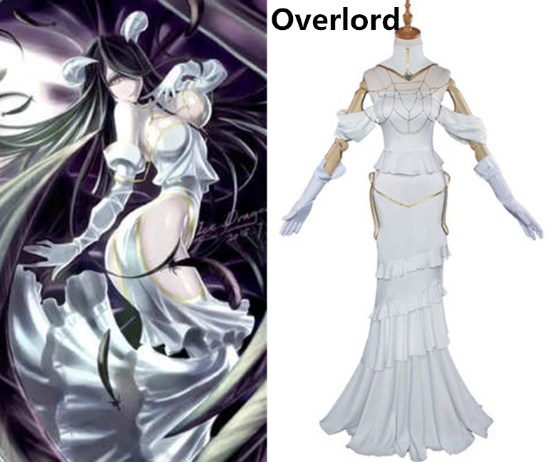 Anime Overlord albedo High-quality White Sexy dress with horn Cosplay Costume