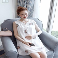 2019 new M848 Pregnant women Printed chiffon shirt,, sleeveless loose in the long chiffon shirt