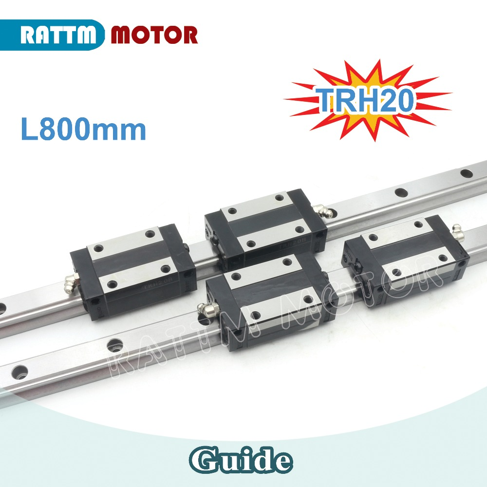 High Quality!! CNC 2 Pcs 20mm Square Linear Guide Rail kit TRH20 800mm & 4Pcs TRH20B Slider Blocks high precision low manufacturer price 1pc trh20 length 1800mm linear guide rail linear guideway for cnc machiner