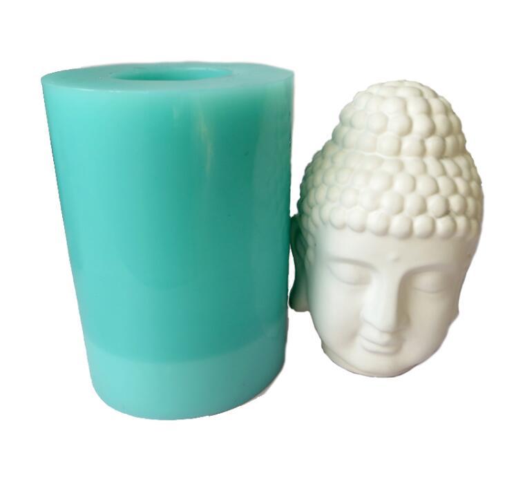 SN0047 3d tête de bouddha moules grande taille à la main en Silicone moule bougie moule bricolage artisanat Silicone résine moule d'argile arôme pierre moules