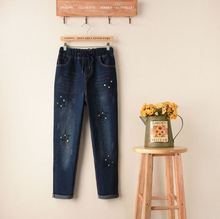 Embroidery Dot Patch Cropped Jeans Women Brand New Elastic Waist With Drawstring Stretch Skinny Pants For Women Denim Jean Capri