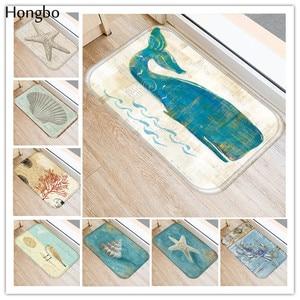 Hongbo New Anti-Slip Carpets Marine Life Print Mats Bathroom Floor Kitchen Starfish Conch Seahorse Whale Turtle Pattern Rugs