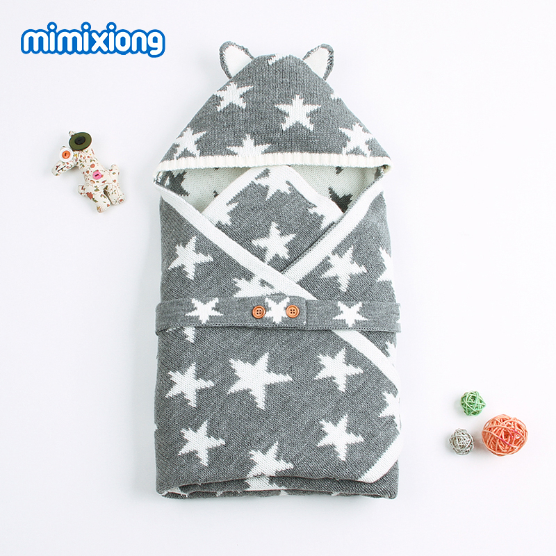 Baby Sleeping Bag Winter Star Knit Envelope For Newborns On The Discharge From The Hospital Fashion Outdoor Stroller Sleep Sack