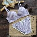 2017 Colorido novo lingerie sexy lace padrão Listrado de algodão Sem Costura reunir conjunto de sutiã ajustável beleza menina Conjunto de Lingerie