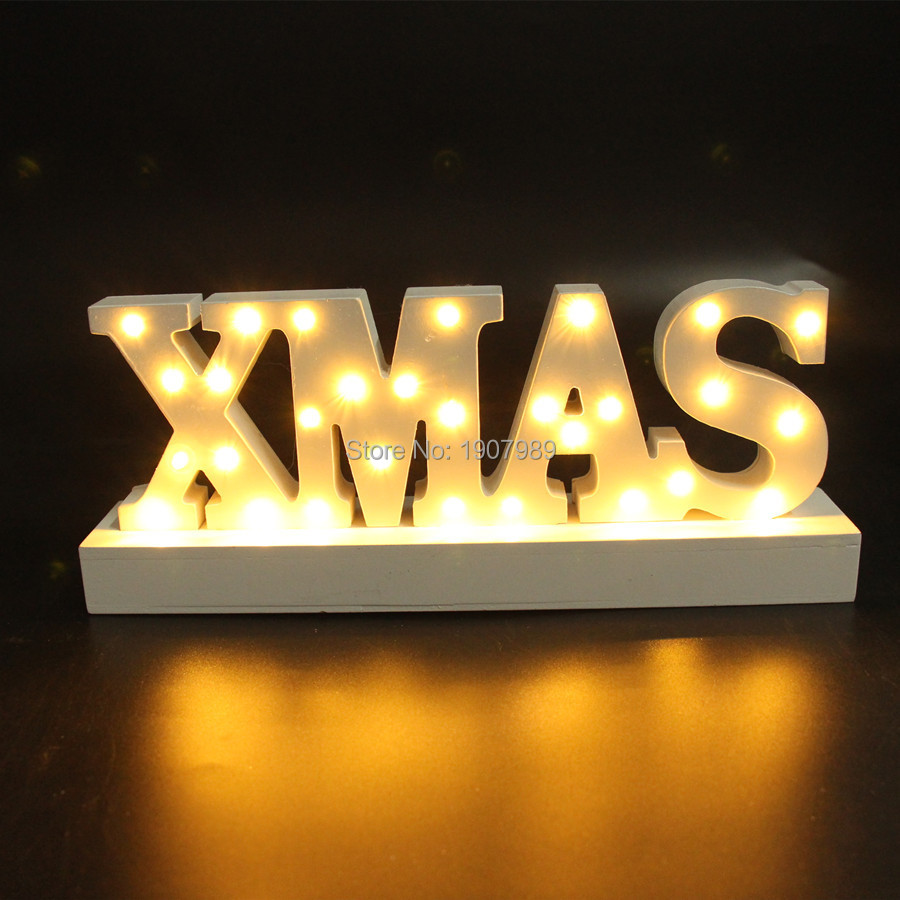 цена  White wooden XMAS letter  light LED Marquee Sign LIGHT UP night light  merry christmas Indoor table Deration free shipping  онлайн в 2017 году