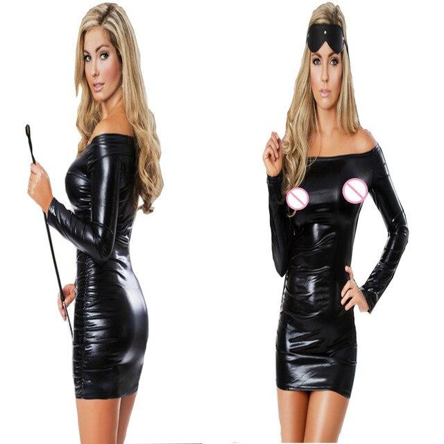 4867e316d Sexy Black Bodycon Faux Leather Dress Off Shoulder Long Sleeve Short Club  Wear Costumes Mini Dress Night Clubwear