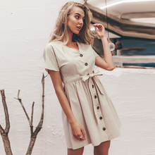 Summer Cotton Linen Single Breasted Mini Beach Sundress Short Sleeves V Neck Simple Loose Dress Sashes Office Lady