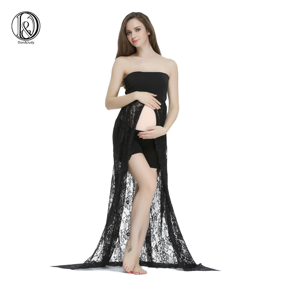 Clearance!Stretch Lace Boob Tube Split front Maternity Photography Dress (without shorts)Baby Shower Gift