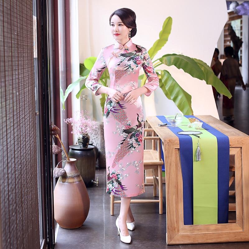 Chinese Women Wedding Dress Mandarin Collar Satin Qipao Print Peacock Party Gowns Plus Size 3XL Female Long Sleeve Cheongsam Платье