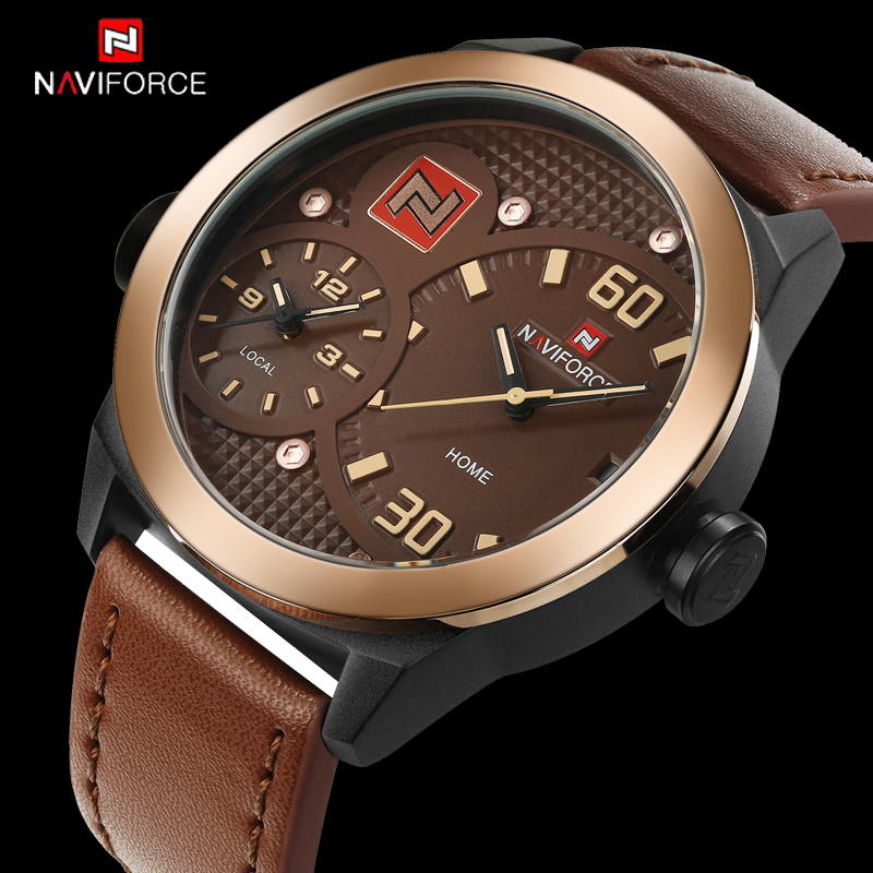 NAVIFORCE Luxury Brand Military Watches Men Quartz Watch Leather Clock Man Sports Army Watch Dual Time Zone Relogio Masculino luxury brand pagani design waterproof quartz watch army military leather watch clock sports men s watches relogios masculino