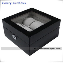 Black + Gray Grossy Finish Wooden Watch Case Clear Lid for Watches Display Best Gift Box for Father GC02-LG3-06BH