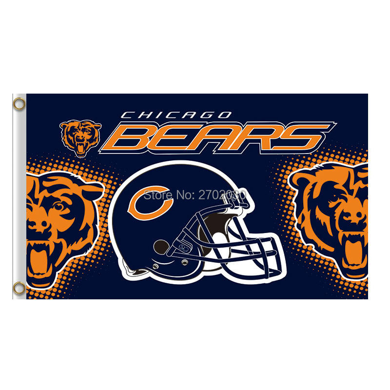 Helmet Chicago Bears Flag Sport Banners Football Team Flags Super Bowl Champions Banner  ...