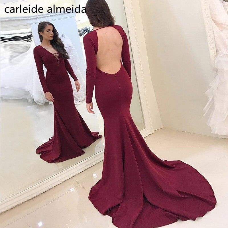 Robe de soiree longue 2018 Burgundy Jersy Long Sleeve Evening Dress Backless Abendkleider Court Train Formal Dress Avondjurk