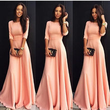 Summer nine-color new seven-point sleeve fishtail chiffon dress solid color fashion Chic Female Party elegant dress(China)