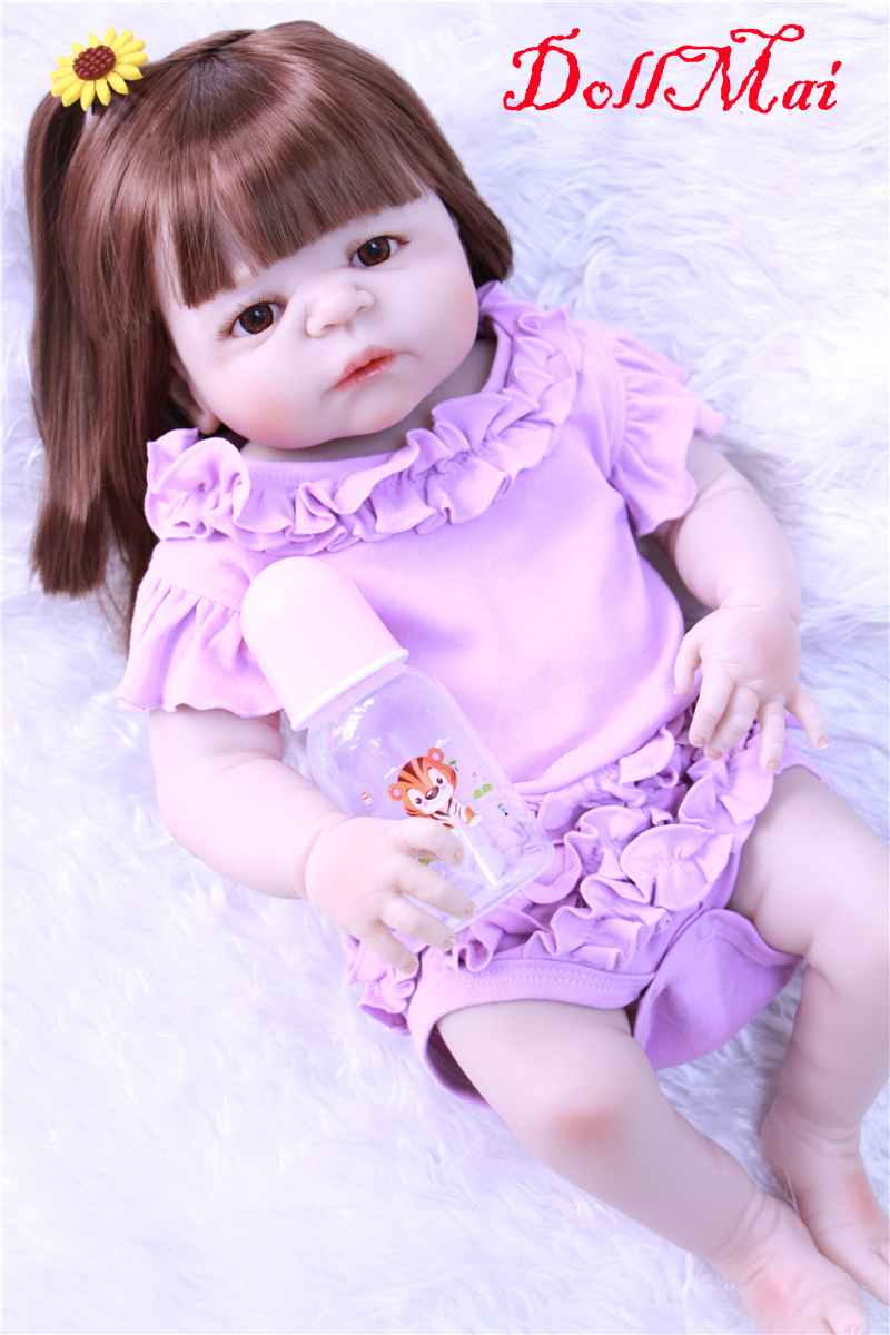 Full body silicone reborn baby girl dolls 2255cm real newborn babies dolls toys rooted hair bebe alive bonecasFull body silicone reborn baby girl dolls 2255cm real newborn babies dolls toys rooted hair bebe alive bonecas