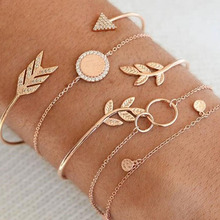 5 Pcs/Set Gold Link Chain Crystal Leaf Arrow Charm Bracelet for Women Knot Moon Cuff Bracelet Bangle Set Girls Braclets 2019 New trendy rhinestone arrow shape cuff bracelet for women