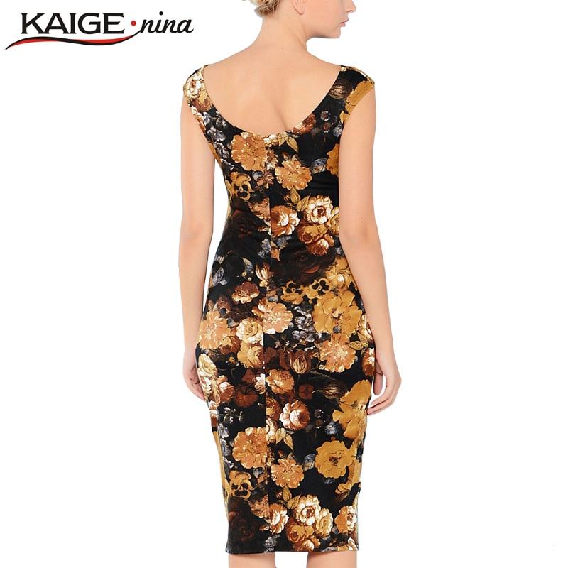 824488c7526 KAIGE NINA Femmes Sexy Automne et D hiver Impression Robe Casual Genou  Longueur Mode Robe Dos Nu Mince Plus La Taille Vintage robe 2157 dans Robes  de Mode ...