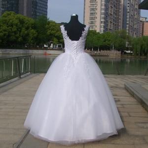 Image 3 - כדור שמלות ספגטי רצועות לבן שנהב טול שמלות כלה 2020 עם פניני כלה שמלת נישואים לקוחות Made גודל