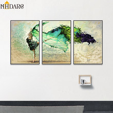 3 Pictures one Set Modern Green Dance Girl Poster and Prints Canvas Print Painting Art Wall Pictures for Living Room Home Decor(China)
