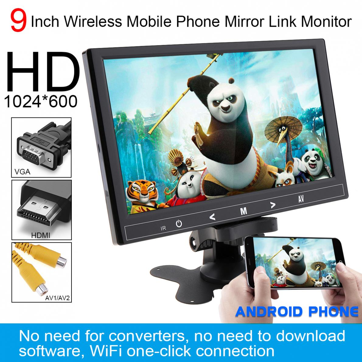 9 Inch 12V IPS 1024*600 TFT LCD Universal Car Headrest Monitor Support HDMI/VGA/AV/Wireless Mobile Phone Mirror Link цена 2017