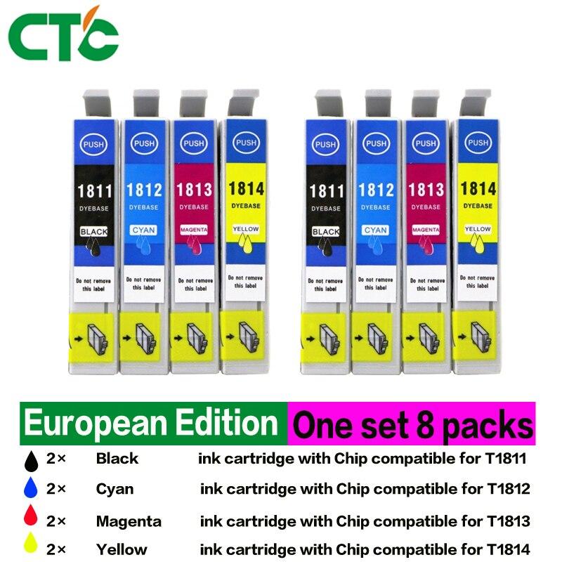 8P T1811 - T1814 Ink Cartridge Compatible for XP212 XP215 XP225 XP312 XP315 XP412 XP415 XP202 XP205 XP302 Printer
