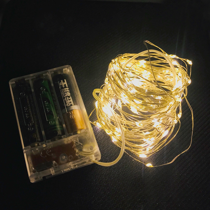 Battery Copper Wire Fairy Garland LED String Lights 1-10M Holiday Lighting For Christmas Tree Wedding Party Decoration