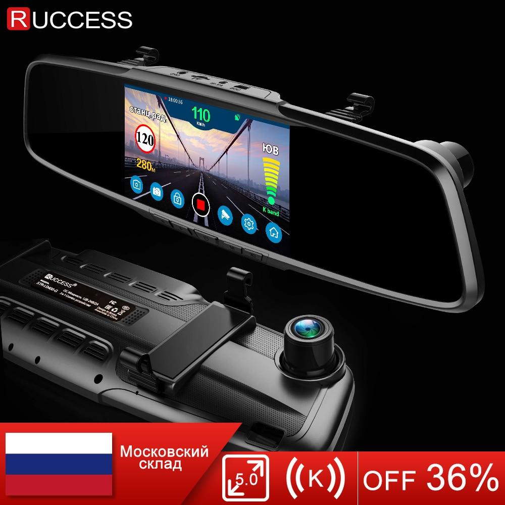 Ruccess 5.0 Car DVRS 3 in 1 Rear View Mirror Recorder Police Radar detector with GPS FHD 1080p Dashcam Dual lens Car Camera DVR
