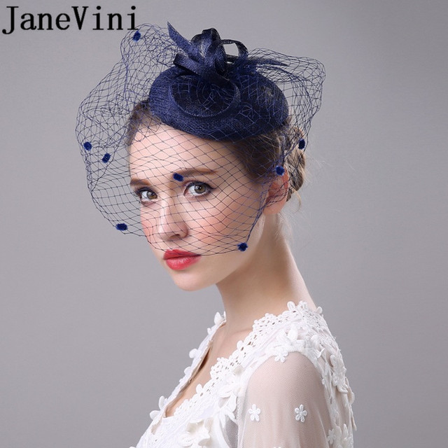 29cd47e60b3f5 JaneVini Birdcage Net Bridal Wedding Hats Fascinator Face Veils Flower with  Hairpin Bride Veils Wedding Hats for Women Mariage