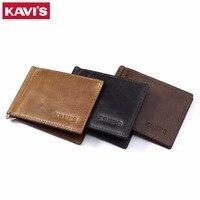 KAVIS Slim 100 Genuine Cow Leather Money Clip Men Wallet Women Bifold Male Bank Purse Dollar