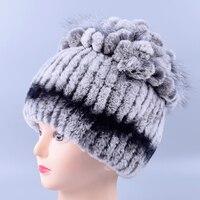 2015New Women Winter Rex Rabbit Fur Hat Real Rabbit Fox Fur Beanies Elastic Warm Fashion Ladies