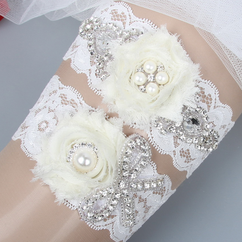 Crystal Wedding Garter: 2016 Hot Handmade Crystal Rhinestones Flower Lace Wedding