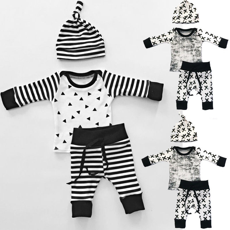 Baby 3pcs Set Newborn Infant Baby Boy Girl Clothes Geometric T-shirt Tops+Striped Long Pants Legging Outfit Set Baby Winter Coat