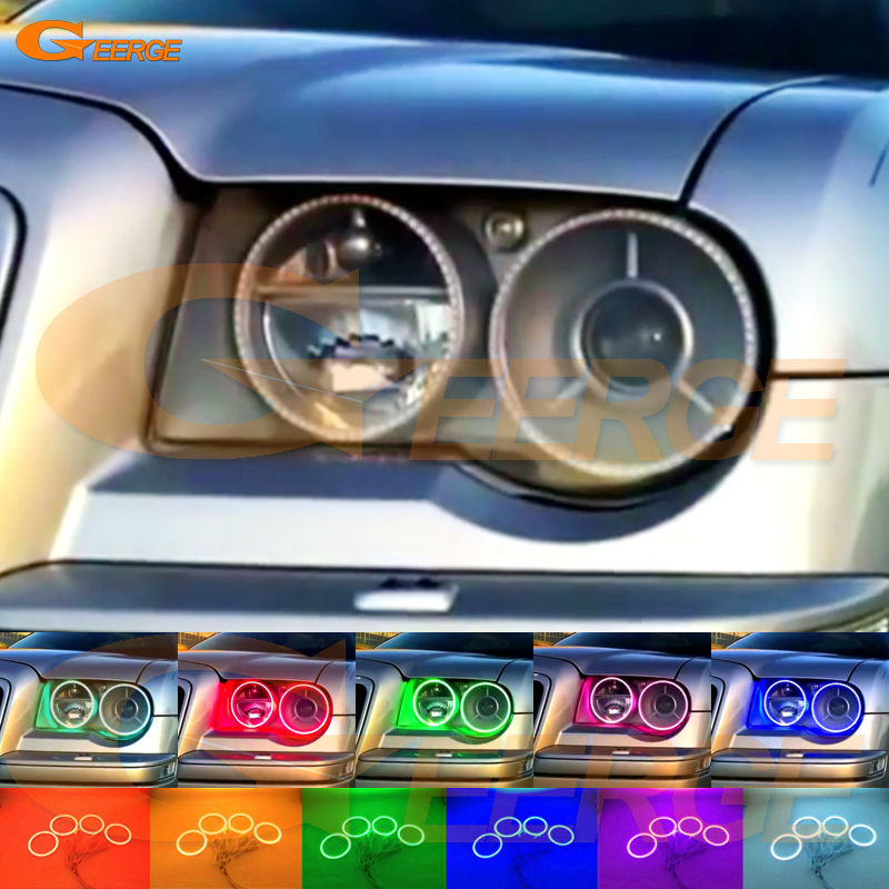 For Chrysler 300C 2004 2005 2007 2008 2009 2010 Excellent Angel Eyes Multi-Color Ultra bright RGB LED Angel Eyes kit Halo Rings for toyota highlander 2012 excellent angel eyes kit multi color ultrabright rgb led angel eyes halo rings