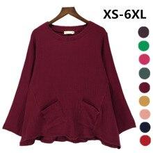 Blusa cómoda vintage Popular para mujer, camisas de lino de algodón holgadas de colores caramelo, ropa femenina de talla grande 5xl 6xl