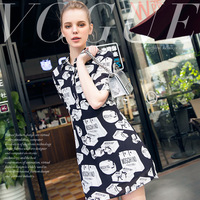Short Summer Dress 2017 New Women S Fashion Personalized Shopping Bag Printing Turn Down Collar Short