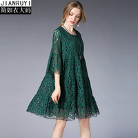 large dress plus size robe court 2019 summer boheme femme floral over sized casual lace dresses for women 456XL pregnant green