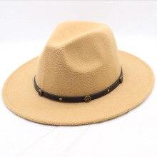 Fashion Felt Hat Men Fedora Hats with Belt Women Vintage Tri